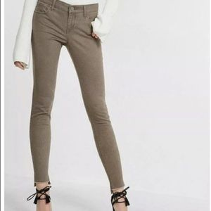 Express taupe raw hem cropped jeans